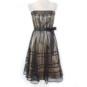 JS COLLECTIONS Caged Strapless A-line Midi Dress